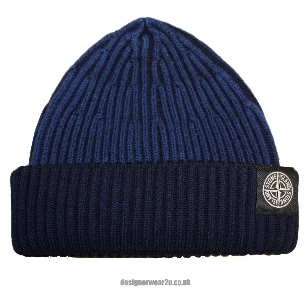 Stone Island Navy Wool Beanie Hat Hats From