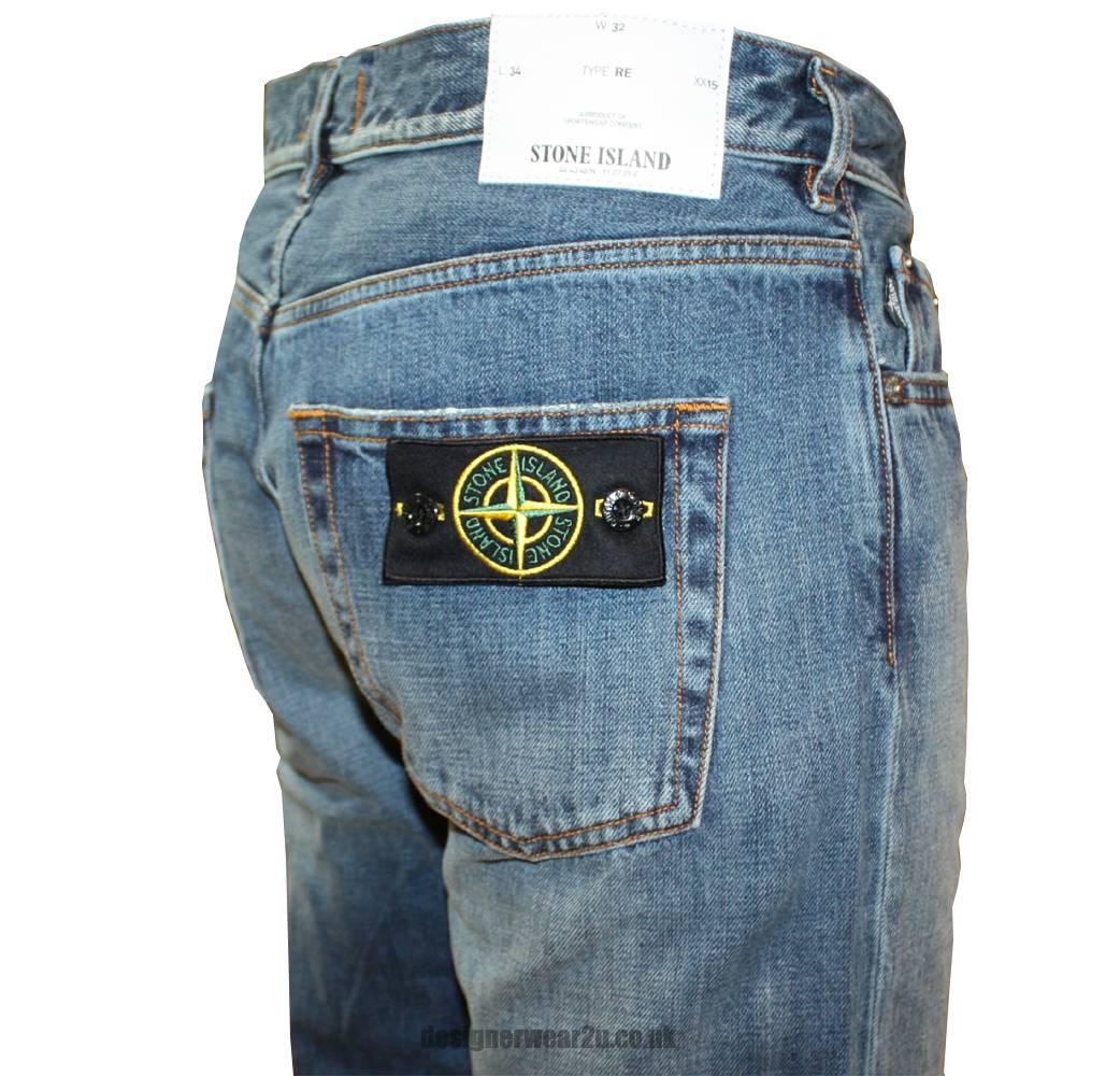 stone island blue vintage wash jeans with badge 5915j3bi4. Black Bedroom Furniture Sets. Home Design Ideas
