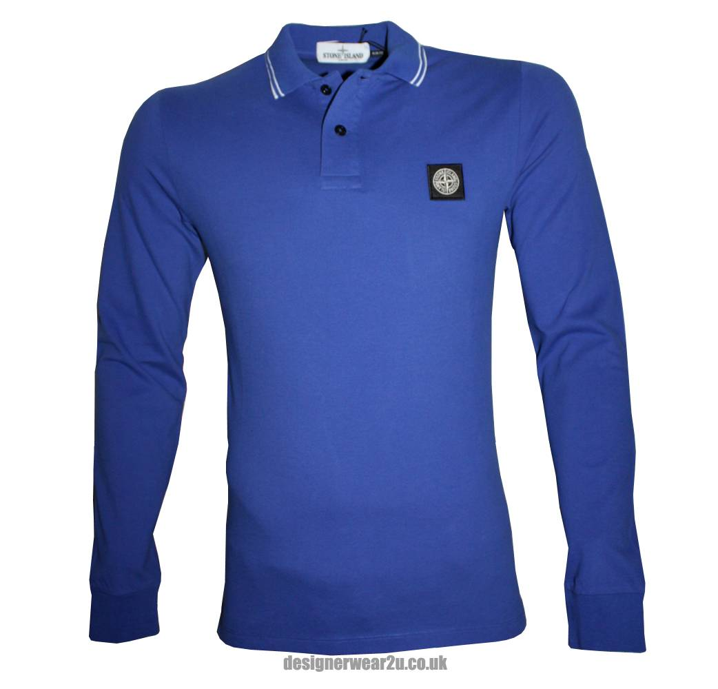 stone island blue tipped slim fitting long sleeved polo shirt 59152ss18 polo shirts from. Black Bedroom Furniture Sets. Home Design Ideas