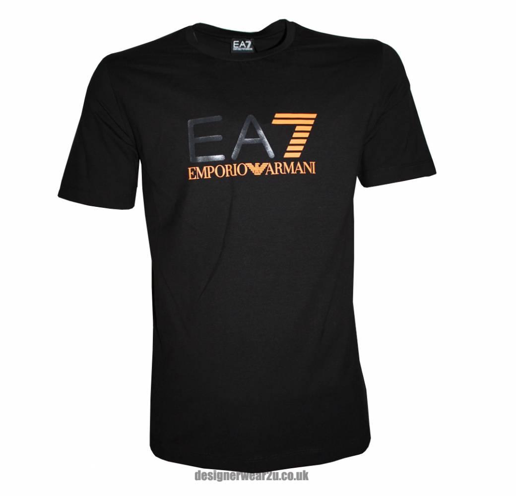 Ea7 Black Slim Fit Printed Logo T Shirt T Shirts From