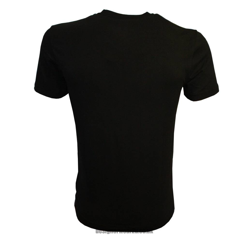 ea7 black high v neck t shirt with small rubber logo t