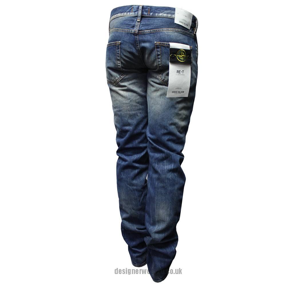 stone island vintage wash regular tapered fit blue jeans. Black Bedroom Furniture Sets. Home Design Ideas