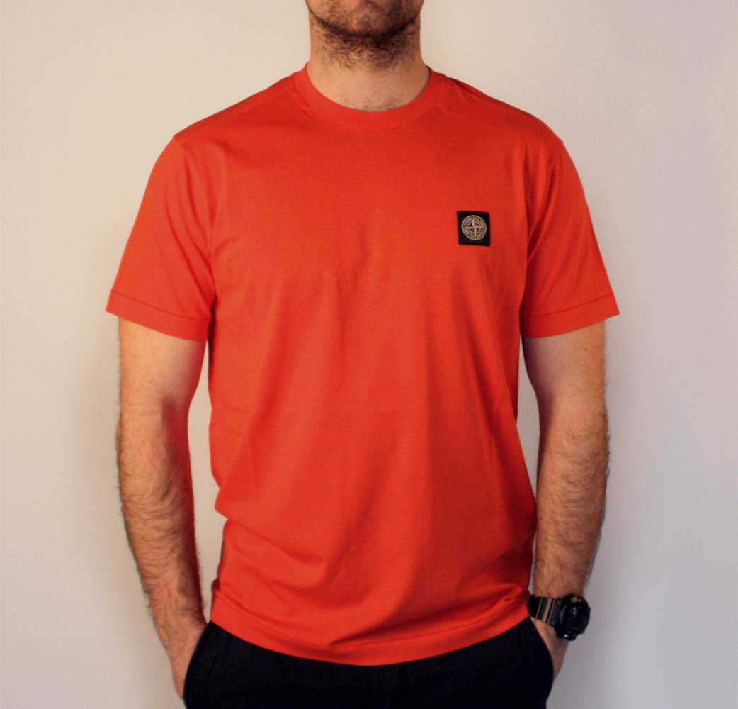 Stone Island Red Orange Crewneck T Shirt T Shirts From