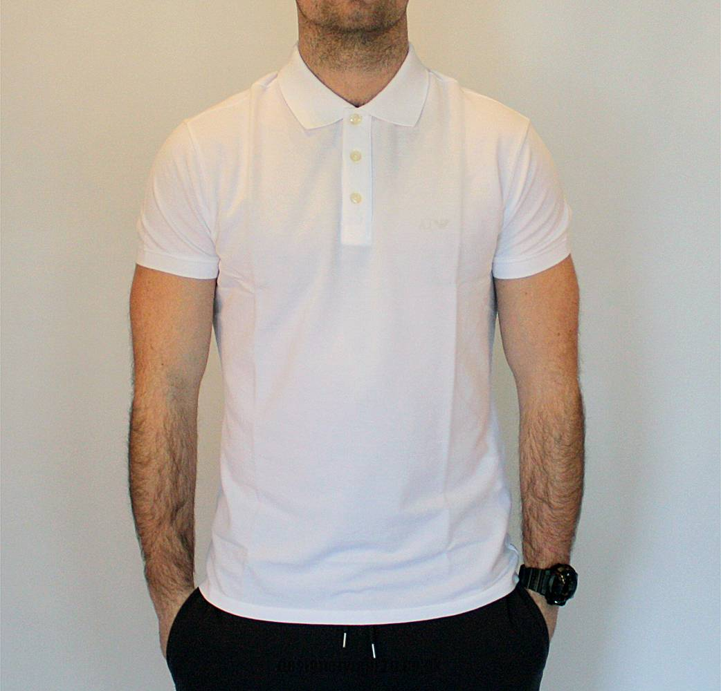 Armani jeans white muscle fit polo shirt polo shirts for White fitted polo shirts