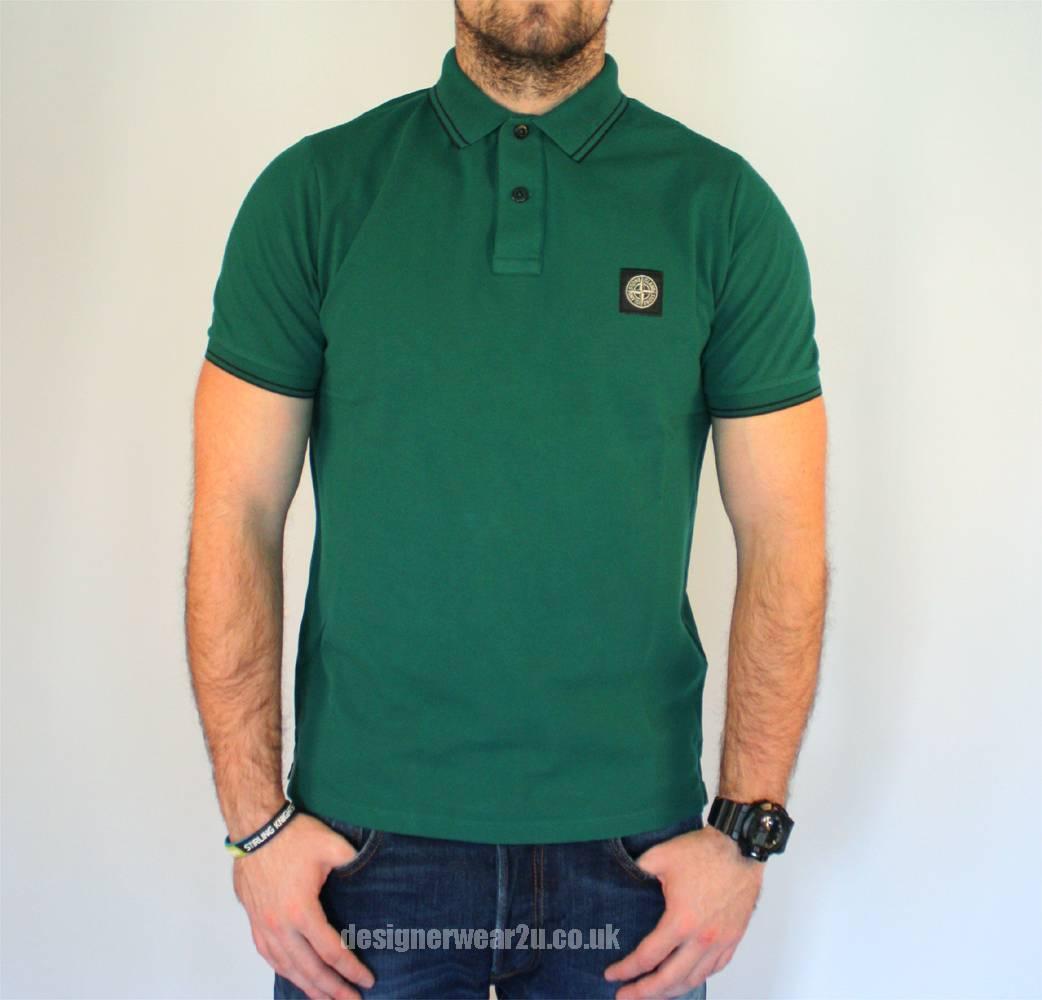 stone island green slim fit short sleeved polo shirt polo shirts from designerwear2u uk. Black Bedroom Furniture Sets. Home Design Ideas