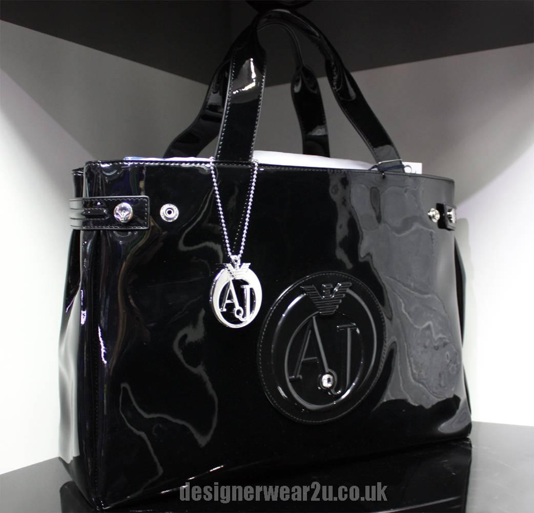 armani jeans patent tote shopper bag with large aj logo. Black Bedroom Furniture Sets. Home Design Ideas