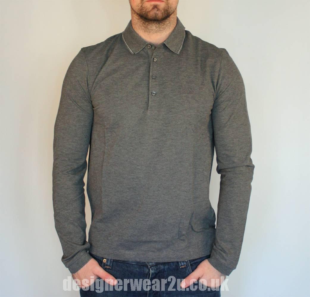 Hugo Boss Grey Tivoli Long Sleeved Polo Shirt Polo
