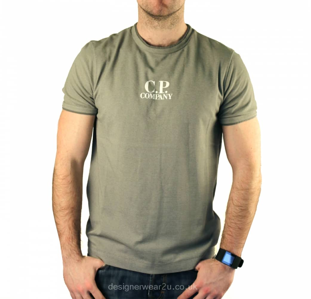 Cp company grey crewneck t shirt with printed chest logo for Tee shirt printing companies