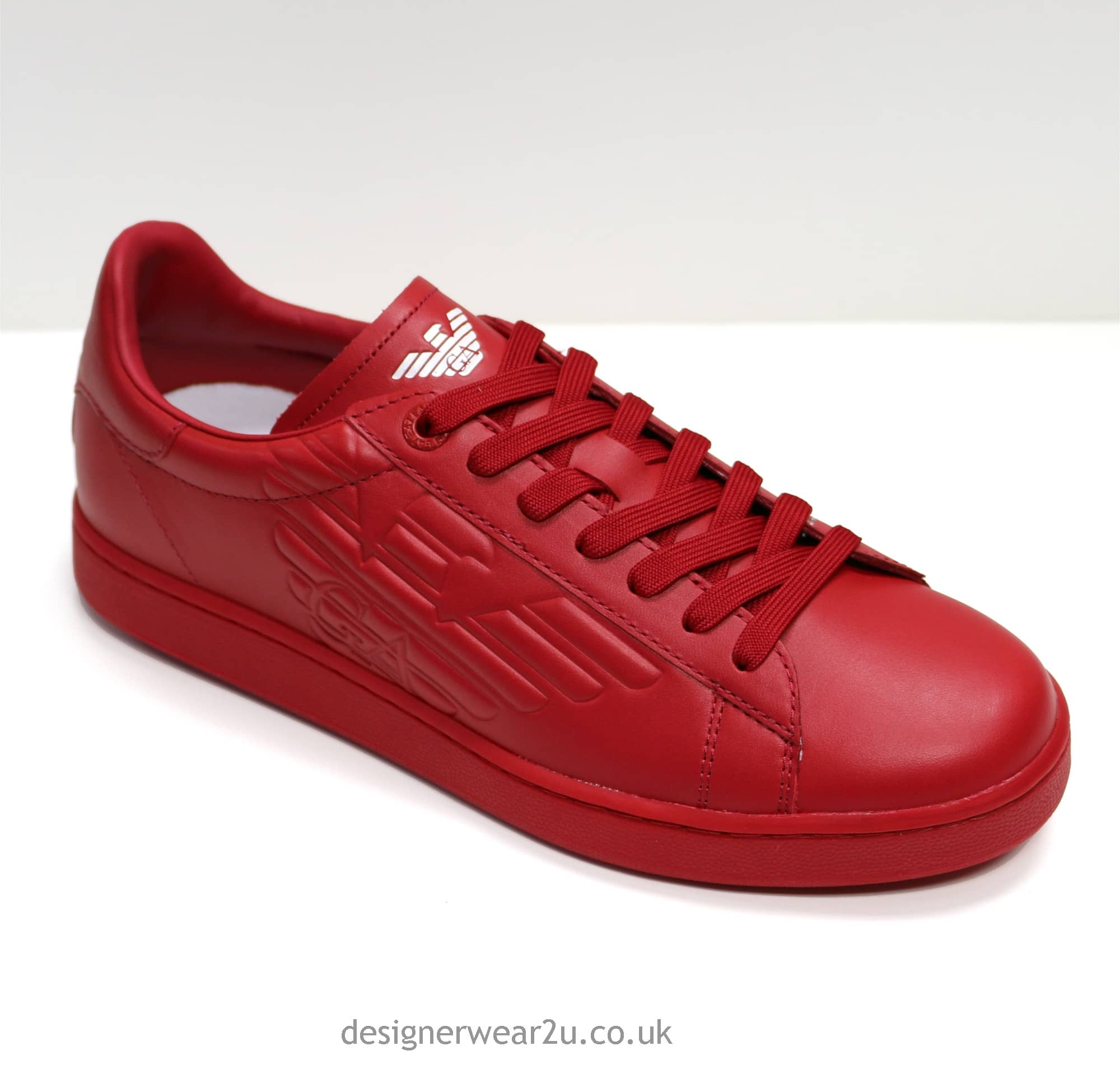 Ea7 Red Leather Trainers With Embossed Logo Footwear