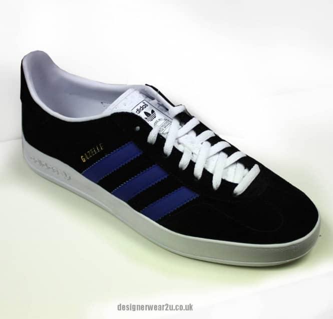 Adidas Originals Adidas Black And Blue Gazelle Indoor Trainers ... 946729efc