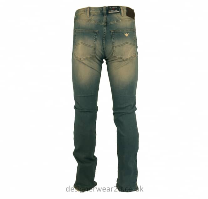 Armani Jeans Armani Blue Slim Fit Antique Wash Jeans in J45 Fit