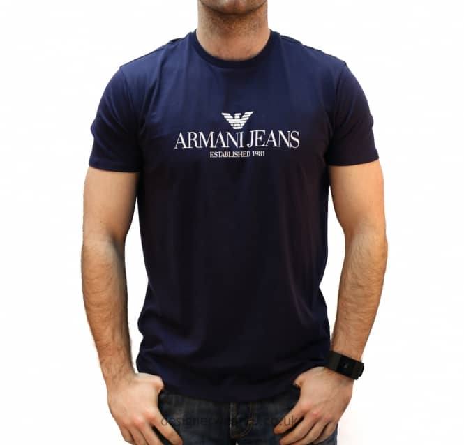 a722c5030b09 Armani Jeans Navy T-Shirt With Logo - Holiday Shop from ...