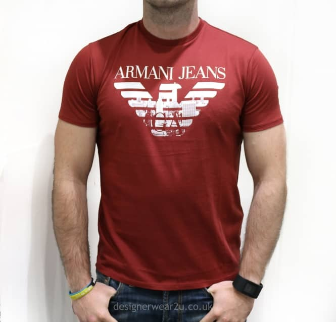 8c216cc2 Armani Jeans Wine T-Shirt With Printed Logo - Holiday Shop from ...