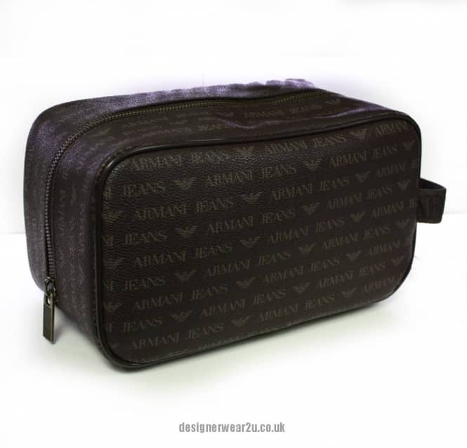 35c09d990528 Armani Jeans Armani Wash Bag in Brown with All Over Logo - Gift ...
