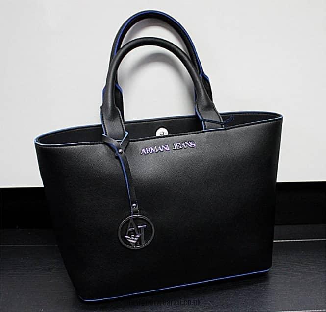 Armani Jeans Ladies Armani Jeans Black Eco Saffiano Small
