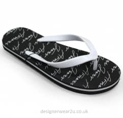 Armani Jeans Black Flip Flops With All Over Logo