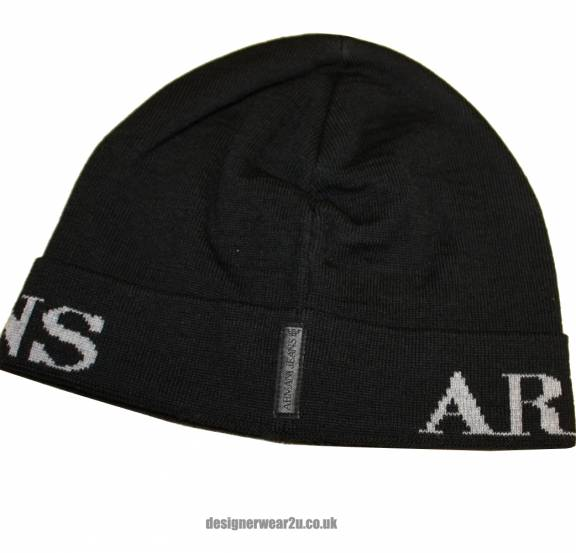 Armani Jeans Black Logo Wool Mix Beanie Hat - Hats from ... 44127e13b19