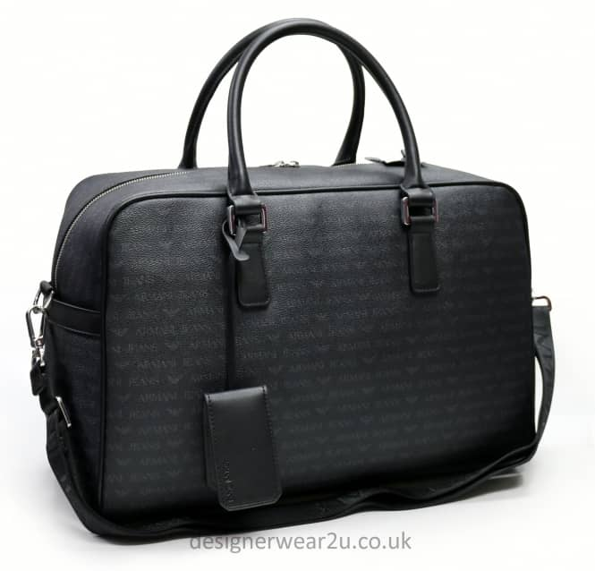 Armani Jeans Armani Jeans Black Overnight Holdall Bag With Logo