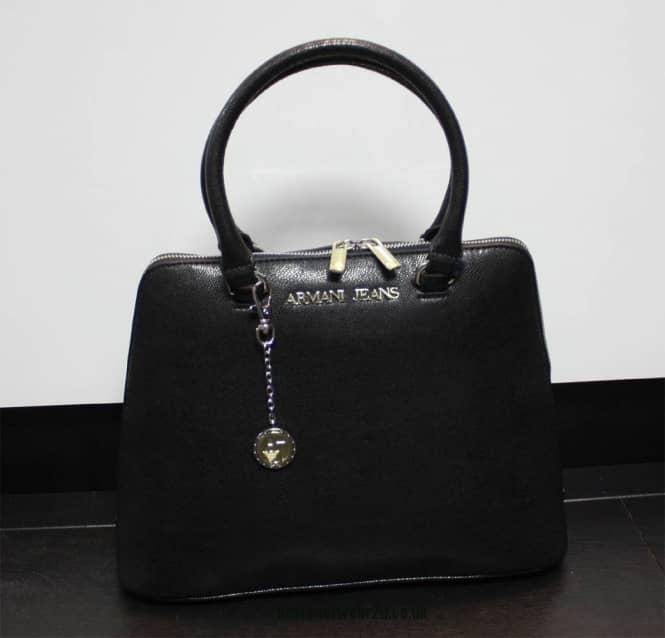 Armani Jeans Ladies Armani Jeans Black Printed Faux Leather Tote Bag ... a912de6dd48d5