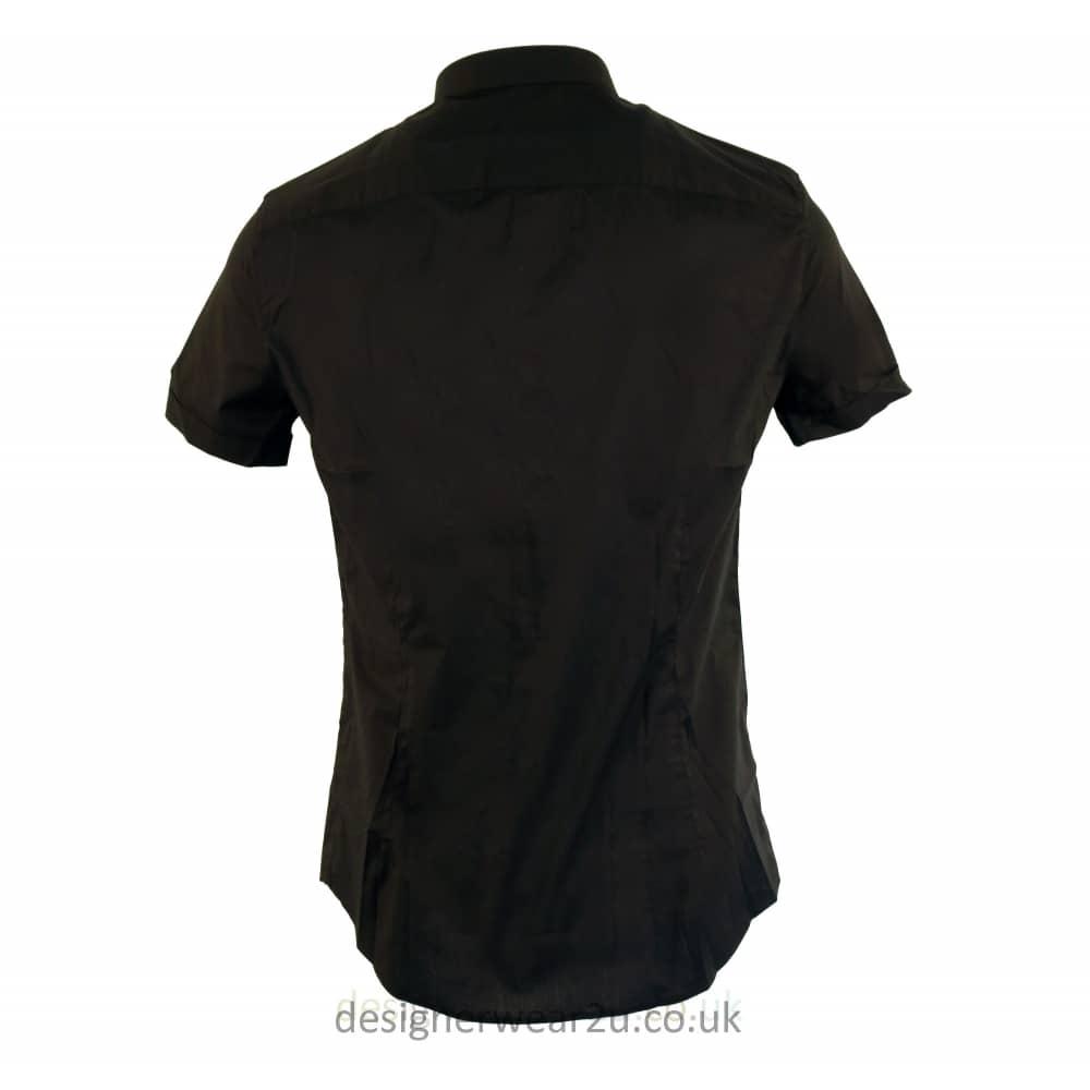 1325fbe3 Armani Jeans Short Sleeved Slim Fit Shirt Black - raveitsafe
