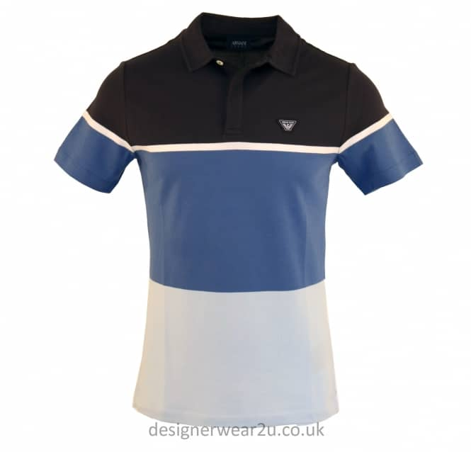 Armani Jeans Armani Jeans Blue Block Colour Striped Polo Shirt