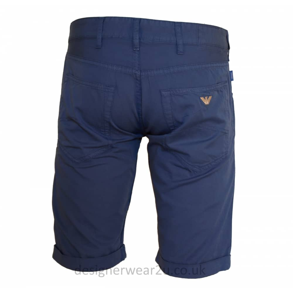free shipping 8a4d0 389c1 Armani Jeans Armani Jeans Blue Chino Shorts With Classic Eagle Badge