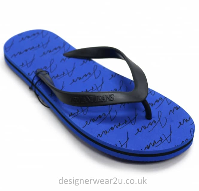 Armani Jeans Armani Jeans Blue Flip Flops With All Over Logo