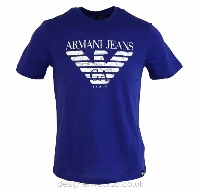 Armani Jeans Armani Jeans Blue T-Shirt With Large Print