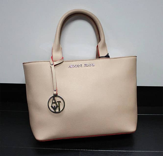 Armani Jeans Ladies Armani Jeans Cream Eco Saffiano Small Tote Bag ... d4dcda4e27863