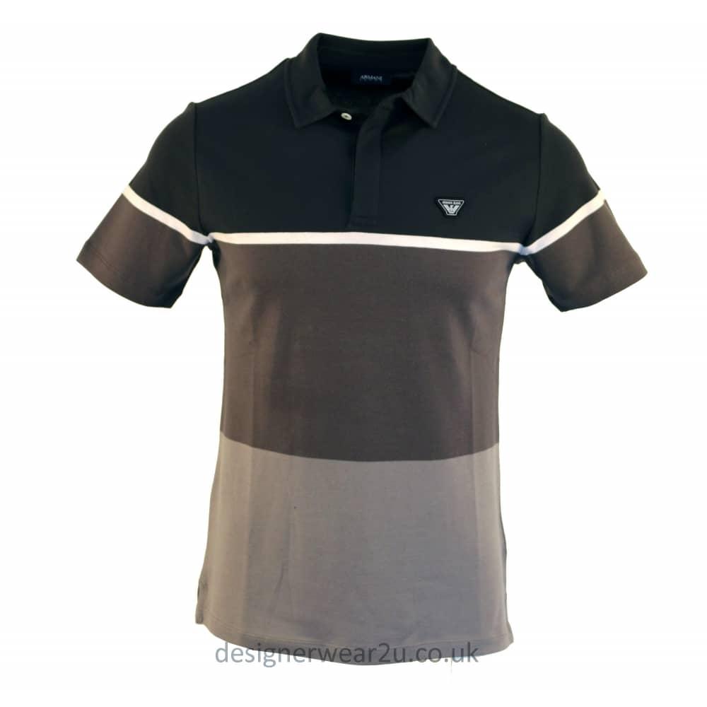 Armani Jeans Grey Block Colour Striped Polo Shirt
