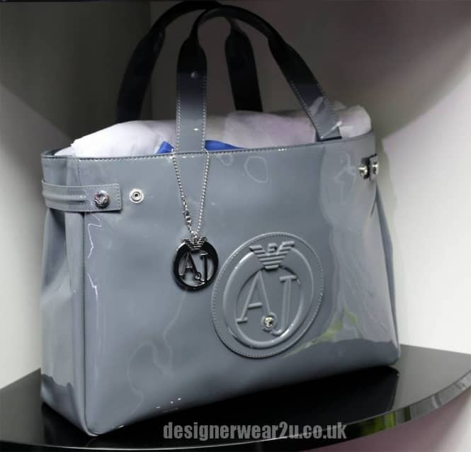 Armani Jeans Ladies Armani Jeans Grey Patent Tote Shopper Bag with ... 2730e99884d2f