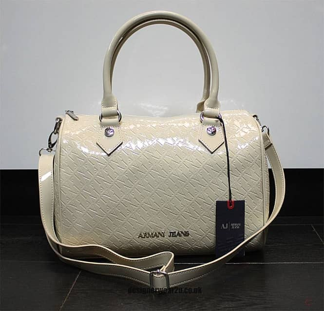 Armani Jeans Ladies All Over Logo Beige Patent Bag - Ladies from ... 6319cd205f489