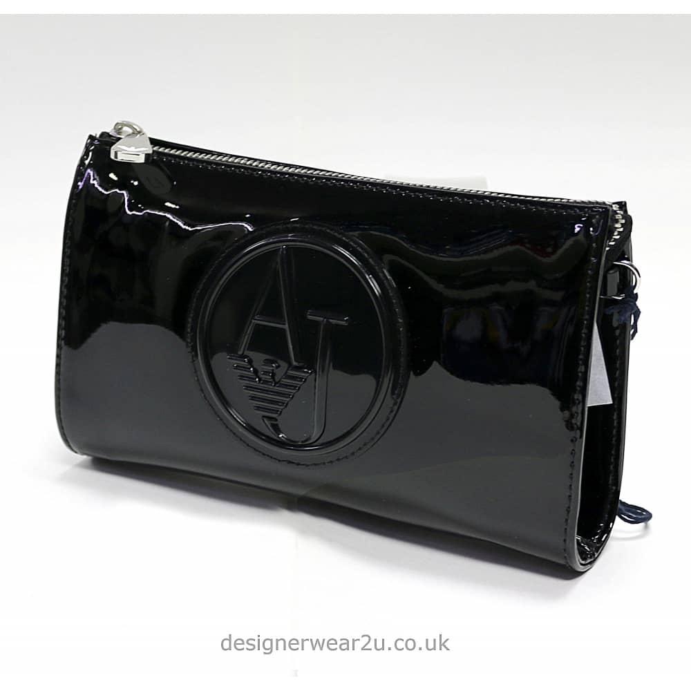 90aa87aeb228 Armani Jeans Ladies Armani Black Patent Small Cross Body and Clutch ...