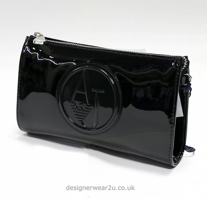 928582BLK FK65AA 168823081. armani jeans ladies black patent small cross  body and clutch bag accessories uk 22ea496332ab1