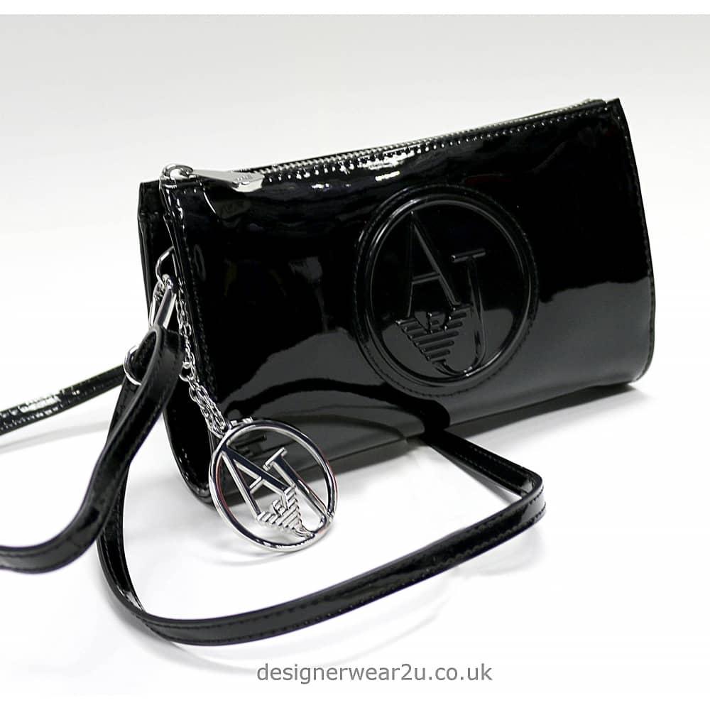 Armani Black Patent Small Cross Body and Clutch Bag