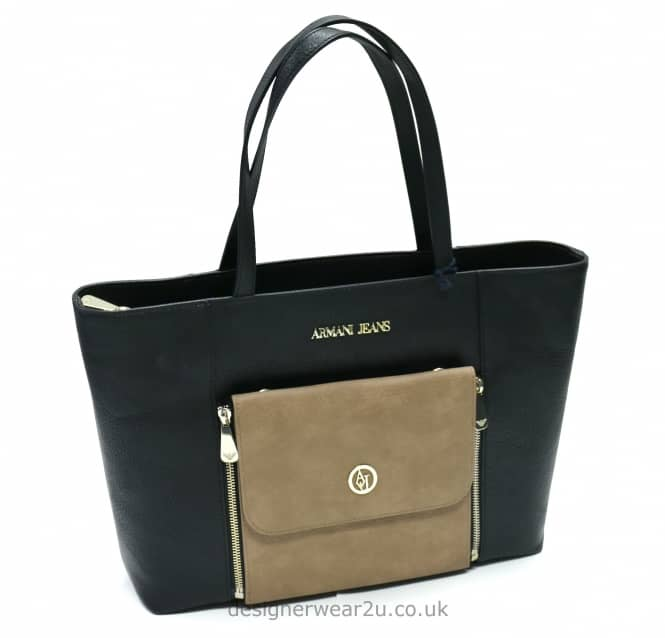 Armani Jeans Ladies Armani Jeans 2 in 1 Tote Bag in Black