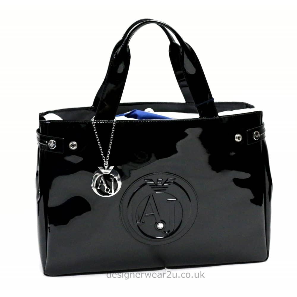 46617c7ed62 Armani Jeans Ladies Armani Jeans Black Patent Tote Shopper Bag with ...