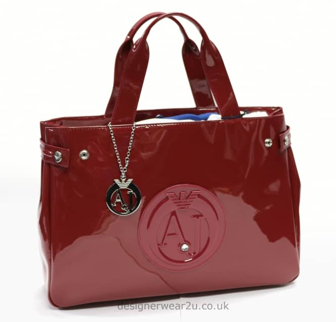 Armani Jeans Ladies Armani Jeans Bordeaux Patent Tote Shopper Bag with Large AJ Logo