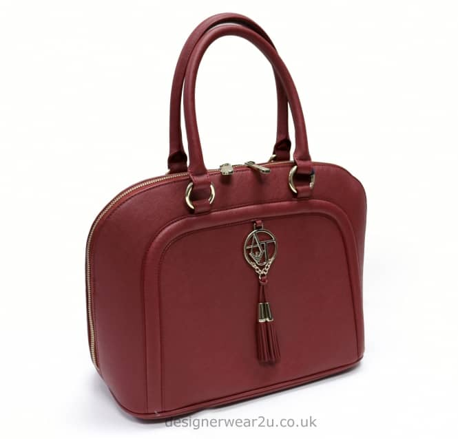 Armani Jeans Ladies Armani Jeans Bowler Style Bag in Oxblood Red