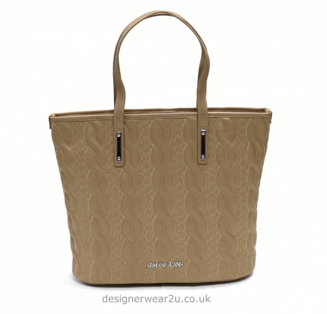 Armani Jeans Ladies Armani Jeans Cable Knit Style Tote in Sand