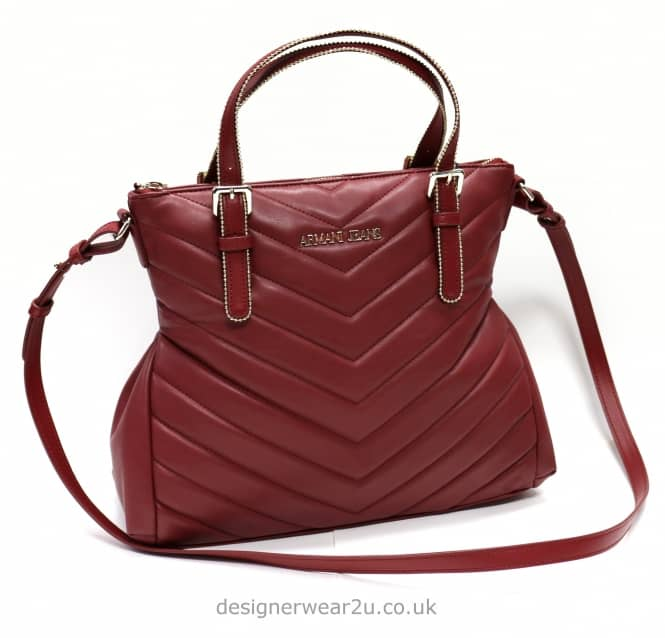 Armani Jeans Ladies Armani Jeans Chevron Stud Tote in Oxblood Red