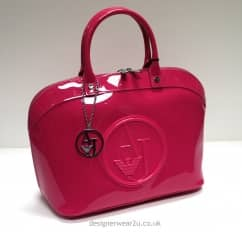 Armani Jeans Fuchsia Pink Rounded Bowler Style Patent Bag