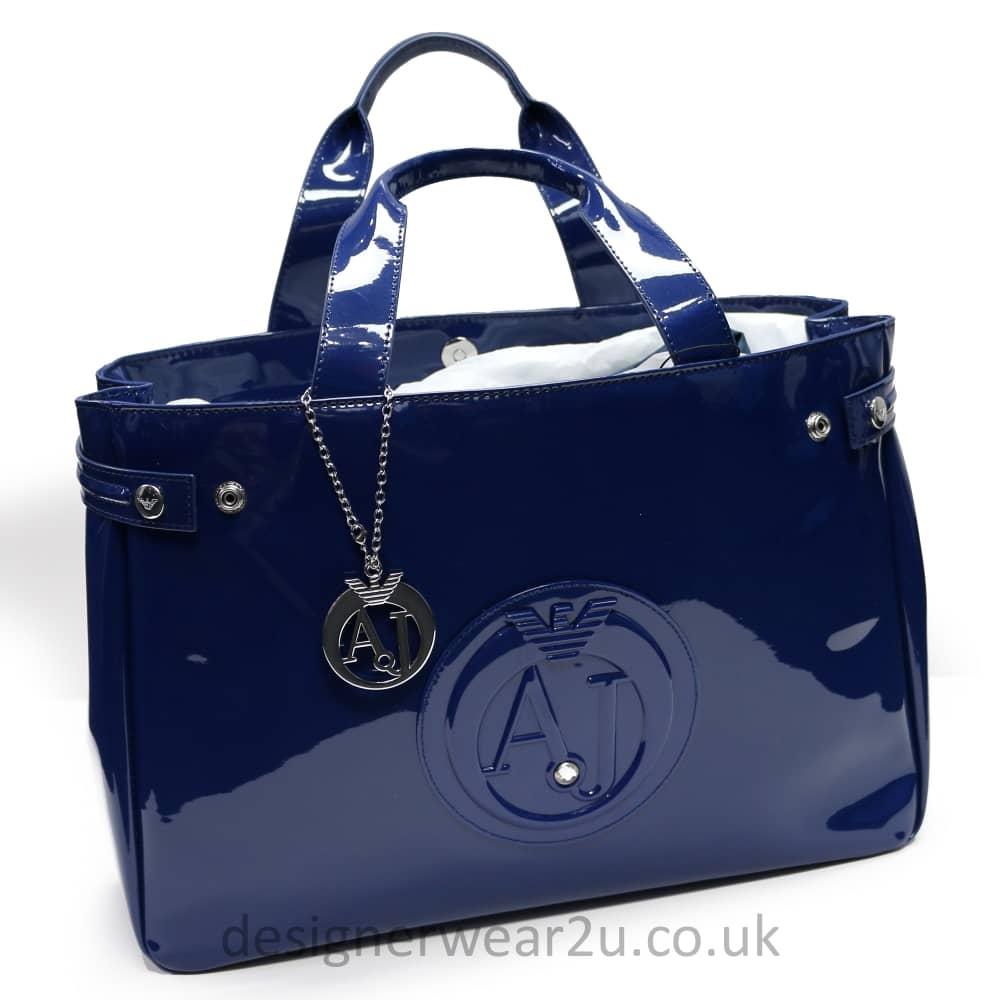 0f9403365441 Armani Jeans Ladies Armani Jeans Large Blue Patent Shopper Tote Bag