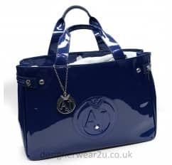 Armani Jeans Large Blue Patent Shopper Tote Bag