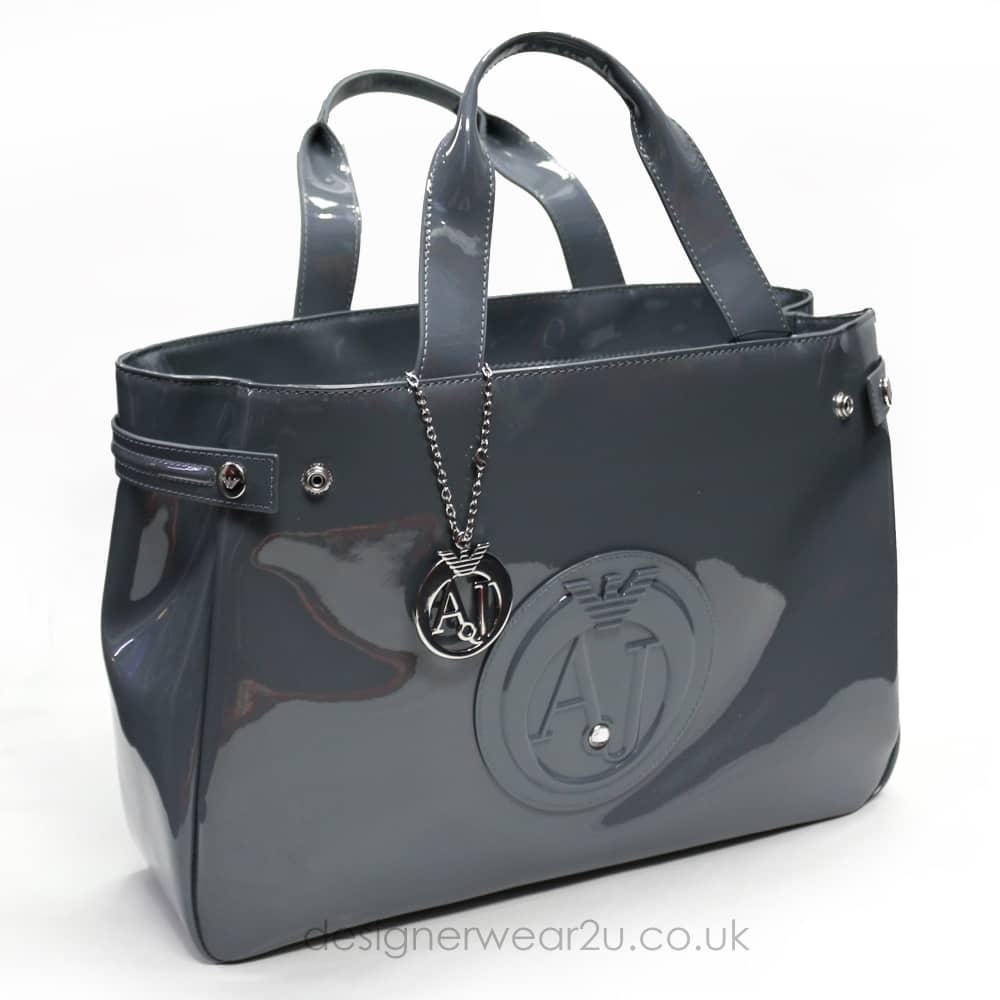Armani Jeans Ladies Armani Jeans Large Grey Patent Tote Shopper Bag ... ff3b79f55712c