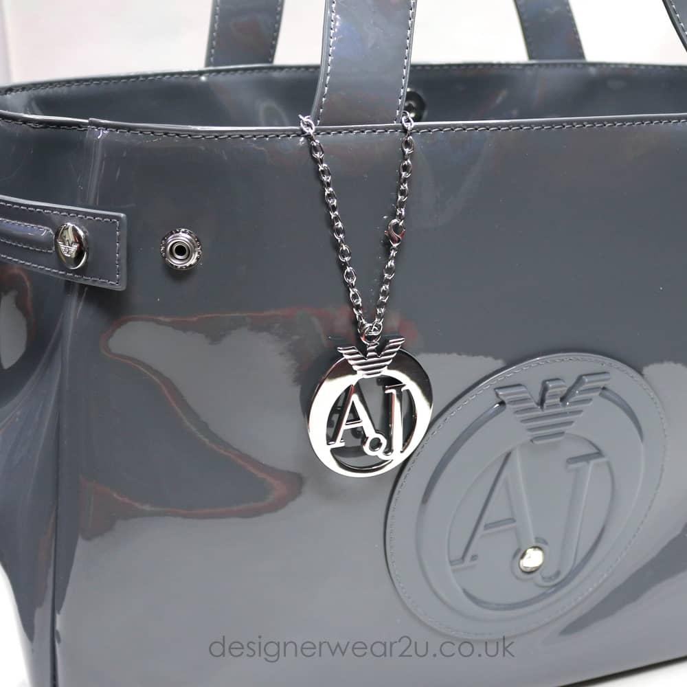 4e0f7781c5 Armani Jeans Ladies Armani Jeans Large Grey Patent Tote Shopper Bag ...