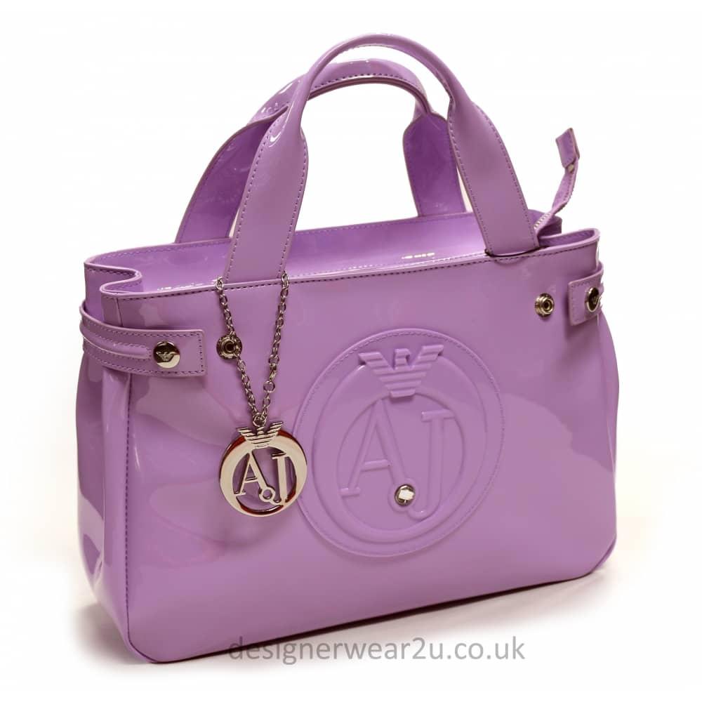 Armani Jeans Ladies Armani Jeans Medium Lilac Patent Tote Shopper ... e855cce504ee5