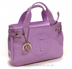 Armani Jeans Medium Lilac Patent Tote Shopper Bag with Large AJ Logo
