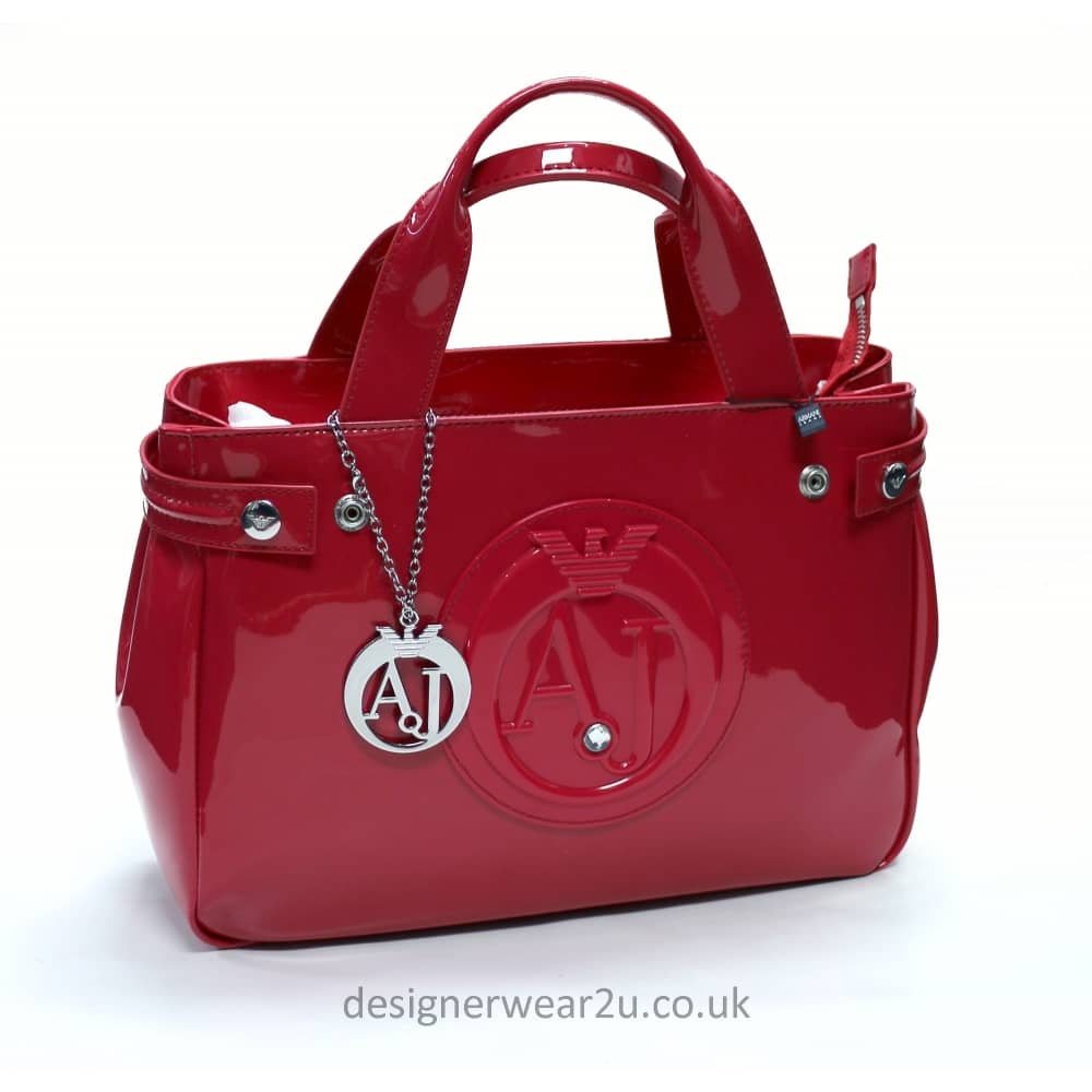 5691d0c78 Armani Jeans Medium Raspberry Patent Tote Shopper Bag with Large AJ Logo