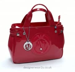 Armani Jeans Medium Raspberry Patent Tote Shopper Bag with Large AJ Logo